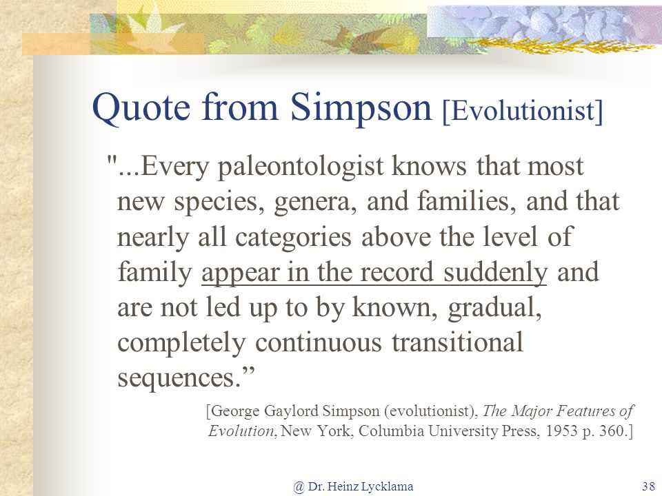 Quote from Simpson [Evolutionist]